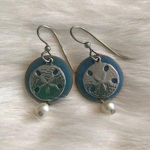 Jewelry - Blue and Silver Sandollar Earrings